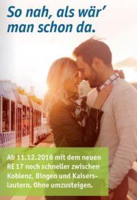 Neue, durchgehende Regionalexpress-Verbindung RE 17 zwischen Kaiserslautern und Koblenz