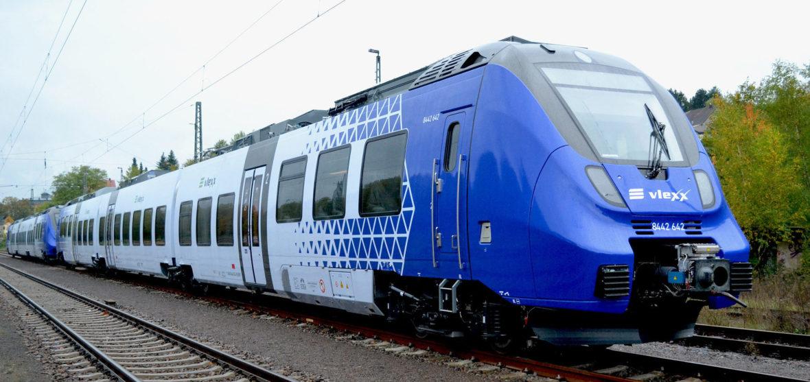 Fahrzeugtyp Talent 3 im Elektro-Netz Saar unterwegs